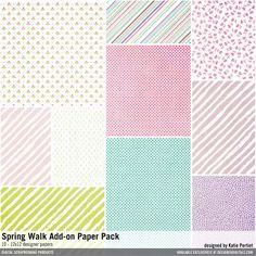 Spring Walk Add-On Paper Pack patterned papers design #designerdigitals