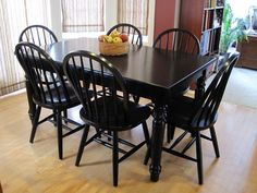 Table and chairs painted using General Finishes Milk Paint in Lamp Black