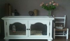 Entertainment center turned rabbit hutch