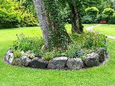 Einfassung Baum Garten Steine