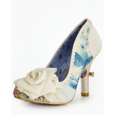 Irregular Choice Washington Wedding Court Shoe ($110) ❤ liked on Polyvore featuring shoes, pumps, floral wedding shoes, evening shoes, leather pumps, high heeled footwear and flower print pumps