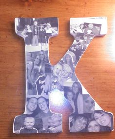 Pictures decoupaged onto a wooden K for Christmas gift. Just finished making it, looks so cute! Easy project!
