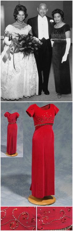 Evening gown with matching overbodice, worn in 1964 by Mrs. June Kay Campbell to the Alpha Kappa Alpha Debutante Ball, where her daughter, Mildred Campbell Christmas, was presented. Dress was made by Willie Otey Kay, Mrs. Campbell's mother. Collection of the North Carolina Museum of History. Black-and-white photo shows Mildred Campbell, Ralph Campbell Sr. and June Kay Campbell at the AKA debutante ball in 1964 (image courtesy of the family of Willie Otey Kay, via WUNC).