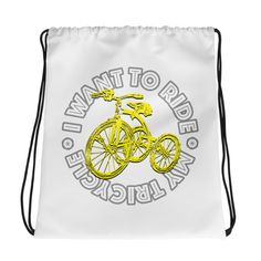 Ride My Bicycle - Drawstring bag. Combine your love for vibrant prints and a sporty style with a cool drawstring bag. It's a must-have gym essential that can be Gym Essentials, Drawstring Bags, Sporty Style, Gym Bag, Bicycle, Backpacks, Shop, Fabric, Cotton