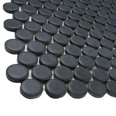 The popular Hudson Penny Round Series now comes in a sample size. The Merola Tile Hudson Penny Round Matte Black Porcelain Mosaic Tile - 6 in. x 6 in. Tile Sample is a striking update to the timeless Penny Round Tiles, Penny Tile, Mosaic Wall, Mosaic Tiles, Tiling, Wall And Floor Tiles, Wall Tiles, Black Grout, Shower Floor