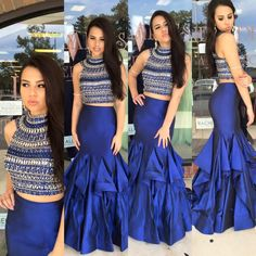 2016 Two Pieces Royal Blue Prom Dresses With Beaded High Collars And Sleeveless Real Pictures Crystals Tiered Satin Mermaid Prom Gowns Black Prom Dresses Uk Camouflage Prom Dresses From Nicedressonline, $156.65  Dhgate.Com