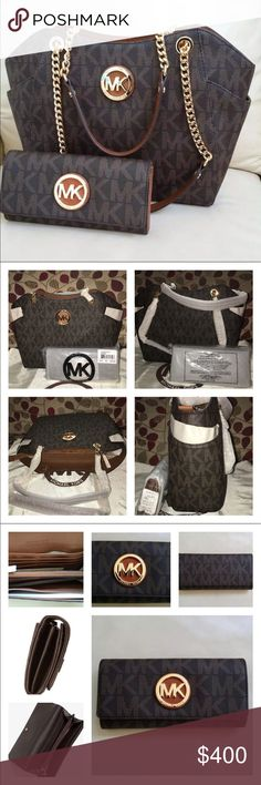 NWT Michael Kors Jet Set Chain and Fulton Wallet New Michael Kors Jet Set Chain Tote & Fulton Wallet Combo! Both PVC Embossed MK w/Gorgeous Gold Hardware in Brown & Luggage color! Amazing set! Logo lined, 1 zip, multiple slip pockets, exterior has slip pockets at each end, closes by zip, Beautiful Chain/Leather strap! Bag measures 11 @base 13 &top x 9 x 4 Wallet has 10 slots for cards, middle zip pocket, 4 full size slip pockets, exterior full size slip pocket & closure by zip measures 7.5 x…