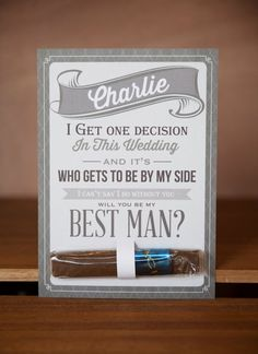 "12 Rad ""Will You Be My Groomsman?"" Gifts via Brit + Co without the cigar Groomsmen Invitation, Groomsmen Proposal, Bridesmaids And Groomsmen, Invitation Set, Wedding Invitations, Asking Groomsmen, Bridesmaid Boxes, Bridesmaid Proposal, Shower Invitations"
