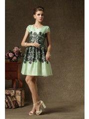 round neck chiffon printed casual dress