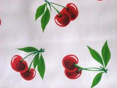 WHITE RED CHERRY STELLA FRUIT RETRO OILCLOTH VINYL SEWING CRAFT DECOR FABRIC BTY #ImportedfromMexico