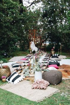 garden party boho style party seating your guests will adore Boho Garden Party, Garden Party Decorations, Garden Parties, Summer Parties, Picnic Table Decorations, Party Decoration Ideas, Bohemian Party Decorations, Boho Garden Ideas, Boho Decor