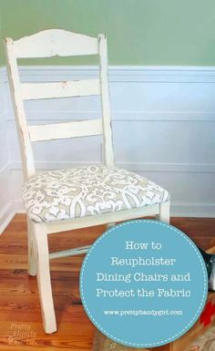 Reupholster a simple dining chair and protect your fabric seat after you put in the effort to recover them with this tutorial. | Pretty Handy Girl | #prettyhandygirl #reupholster #diyreupholster #diytutorial #diyprojects #furnituremakeover #diyfurniture Diy Home Furniture, Colorful Furniture, Handmade Furniture, Upcycled Furniture, Furniture Makeover, Diy Home Decor, Antique Furniture Restoration, Diy General, Eclectic Decor