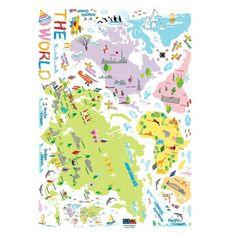Sada samolepek Ambiance World Map for Children