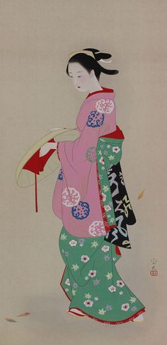 Beauty, Bijin-ga. Japanese hanging scroll, kakejiku.