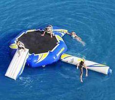 Oversized Lake Trampoline Slide Water Bouncer Float Dock Family ...