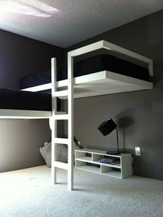Comfy Minimalist Bedroom Decor Ideas Small Rooms - Page 28 of 60 Bunk Beds For Sale, Cool Bunk Beds, Kids Bunk Beds, Lofted Beds, Bunk Bed Ideas For Small Rooms, Modern Bunk Beds, Modern Loft, Bunk Bed Designs, Small Room Design
