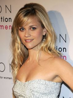 How To: Reese Witherspoon's Side Swept Bangs- To style, start with a side part. The ends should lie flat against your face, not curl in like '80s bangs. So when you blow them out, position your dryer directly above strands while combing them downward with a medium-size flat brush. For soft hold, spritz hair spray on an eyebrow brush, and comb it through to apply. #sideswept #tutorial #hair #cosmo