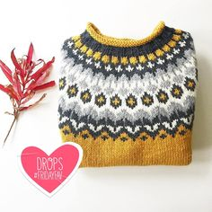 Lets finish the week with some extra cuteness in the shape of a lovely knitted by using 😍 Order this… Icelandic Sweaters, Poncho, Fair Isle Knitting, Drops Design, Mittens, Knitted Hats, Needlework, Knitting Patterns, Knit Crochet