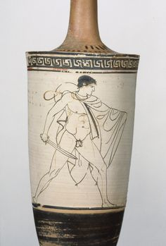 Attic White-Ground Lekythos; Possibly Tymbos Painter (Greek (Attic), active about 460 B.C.); Athens, Greece; about 460 B.C.; Terracotta; 21.5 x 7 cm (8 7/16 x 2 3/4 in.); 83.AE.41
