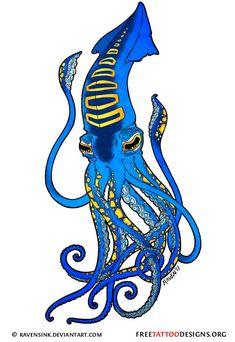 Blue squid tattoo design