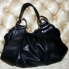 Kooba Authentic Black Leather Hand Bag, Pocketbook Purse