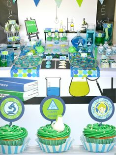 mad science boy birthday party table
