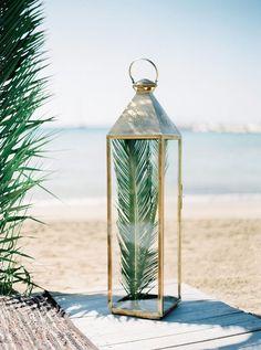 palm frond in a vintage lantern Palm Wedding, Tropical Wedding Decor, Destination Wedding Decor, Beach Wedding Reception, Beach Wedding Decorations, Beach Wedding Favors, Tree Wedding, Floral Wedding, Wedding Ideas