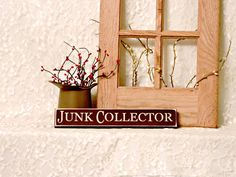 Junk Collector - Primitive Country Painted Wood Sign, Shelf Sitter Sign, room decor, primitive country, collector sign, stocking stuffer by thecountrysignshop on Etsy
