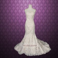 Vintage Inspired Strapless Sweetheart Lace Mermaid Wedding Gown   Vintage Lace Wedding Dress by ieie on Etsy https://www.etsy.com/listing/123628031/vintage-inspired-strapless-sweetheart