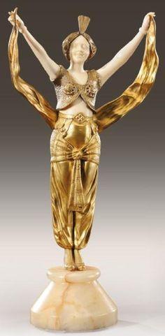 GEORGES OMERTH (1895-1925) «Danseuse orientale» Rare sculpture chryséléphanti
