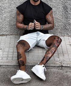 Like times, 23 comments - Mensfashion ▪️Street ▪️Style ( . Knee Tattoo, Leg Tattoo Men, Leg Tattoos, Mode Streetwear, Streetwear Fashion, Urban Fashion, Mens Fashion, Fashion Tips, Dope Fashion