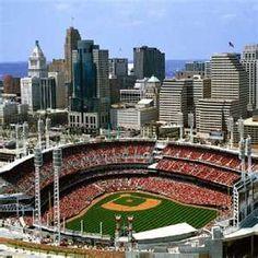 Cincinnati Skyline + Great American Ball Park= SUMMER. My city. Born  raised  love her with all my heart!!  Go Reds!!
