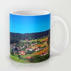 Green grass, the village and a transmitter pole Coffee Mug by patrickjobst Ceramic Mugs, Green Grass, Coffee Mugs, Custom Design, Pottery Mugs, Ceramic Cups, Coffee Cups, Coffeecup, Coffee Mug