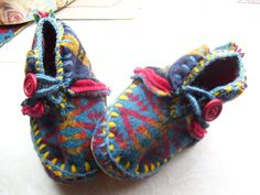 Pidder Padder Baby Felted Pendleton Wool Lined Sheepskin / Leather Soles Moccasins / Slippers / Booties / Shoes / Made to Order. $55.00, via Etsy.