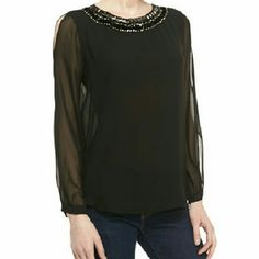 """NWT Erin Fetherston """"Jessa"""" Top w/Beads NWT! This stunning, elegant, chiffon top with jewel beaded neckline, along with long sheer sleeves with slits, a shirttail hem by Erin Fetherston is sold out in stores and was from Neiman Marcus! Retailed for $215! Size 6 and 100% polyester. 20"""" wide at chest and approx 24"""" long. Perfect, new condition! Erin Fetherston Tops Blouses"""