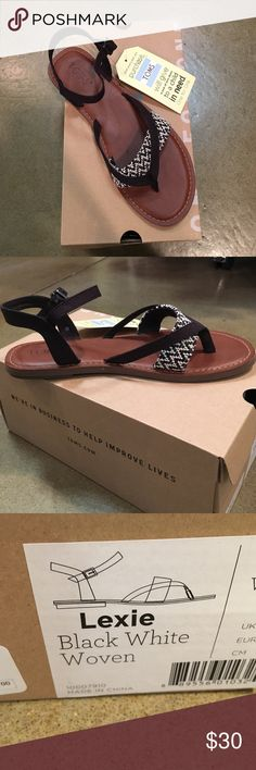 TOMS sandals Black Anna cream strapped sandals. Lexie style! Brand new!!! TOMS Shoes Sandals