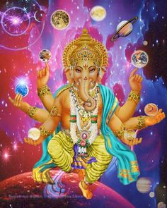 A beautiful art print of Lord Ganesha, remover of obstacles, juggling the worlds in his hands. He is also known as Ganapati. Lord Ganesha Paintings, Ganesha Art, Orisha, Durga, Hanuman, Tantra, Shree Krishna Wallpapers, Ganesh Lord, Ganesh Wallpaper