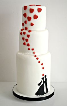 Silhouette hearts black and white wedding cake