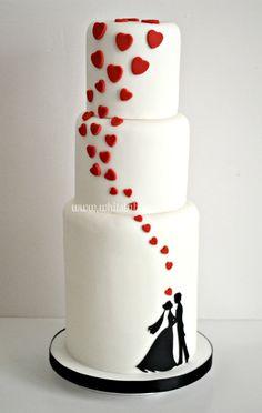 white wedding cakes Silhouette hearts black and white wedding cake Floral Wedding Cakes, White Wedding Cakes, Elegant Wedding Cakes, Wedding Cake Designs, Silhouette Wedding Cake, Silhouette Cake, Black And White Wedding Cake, Valentine Cake, Valentines