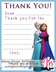 Disney Frozen Birthday Party Thank You by MakingtheMostBlog, $6.00