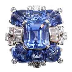 OSCAR HEYMAN Sapphire and Diamond Ring | From a unique collection of vintage cocktail rings at http://www.1stdibs.com/jewelry/rings/cocktail-rings/