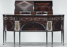 Sideboard, ca. 1795–1805, Philadelphia or Baltimore Mahogany, satinwood, silver, copper, verre églomisé with yellow poplar, white pine, mahogany Many of the motifs found in the sideboards panels of marquetry and verre églomisé were taken directly from Thomas Sheratons Cabinet-Maker and Upholsterers Drawing-Book (1793). Although sometimes imported from England, these small marquetry panels were also made locally and conveyed a sense of