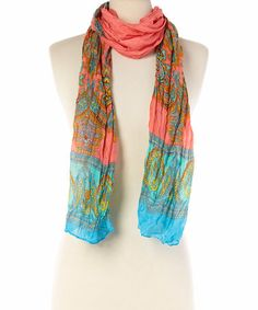 Another great find on #zulily! Coral & Blue Paisley Scarf #zulilyfinds