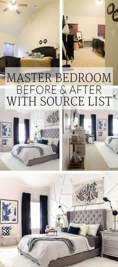 Whoa, the before is like my boring beige master bedroom. I can't believe this transformation!  I'm totally ordering that gray tufted headboard!  | Master Bedroom Before & After - from boring beige to modern glam