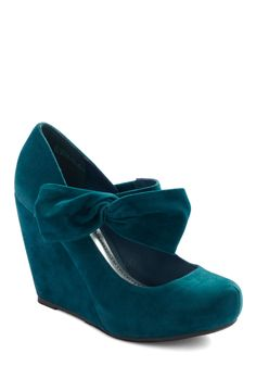 Rules of the Bowed Wedge in Teal - Blue, Solid, Bows, High, Wedge, Casual, Top Rated, Platform