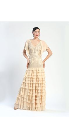 not in this color  Shop for and buy this beautiful vintage style Sue Wong Antique Champagne Long Dress. Click or call (323) 592-9172.