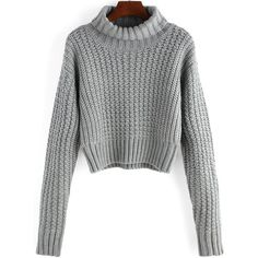 TOPSHOP Ribbed Funnel Neck Cropped Jumper ($37) ❤ liked on ...