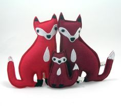 Fox Family Plush in Eco Spun Felt by pandawithcookie on Etsy