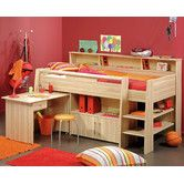 Parisot Kurt Cabin Bed with desk, cupboard and shelving. Solid cabin bed with shelf storage to the rear and end along with Integral cupboard and pull out desk. Available from the Shouth's premier children's bedroom furniture specialists.