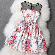 Floral Print Splicing Sleeveless Mesh Top Flared Skater Dress